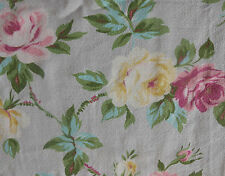 Antique Vintage Shabby Roses Barkcloth Fabric ~ pink aqua yellow on pale gray