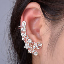 Silver Crystal Butterfly Flower Rhinestone Ear Stud Earring