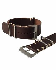 22mm Brown Leather NATO ® Luxury Watch Strap Band Handmade In Italy