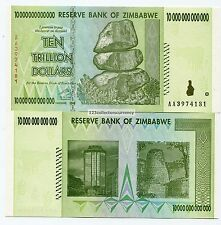 ZIMBABWE  10 TRILLION DOLLARS 2008 UNC  INFLATION CURRENCY MONEY BANKNOTES - AA