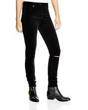 $185 PAIGE 28 Margot Ultra Skinny Destructed Midnight Black Velvet Cords Jeans