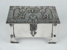 19c Continental European Arts Crafts Sterling Silver Riveted Jewel Box Chest