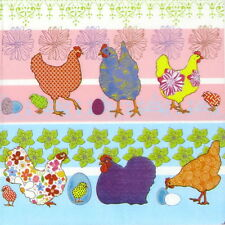 4x Single Table Party Paper Napkins for Decoupage Craft Modern Easter Chickens