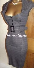 Jane Norman ❤️  Black Grey Pencil Wiggle Bodycon Shirt Tweed Work Dress 12 14