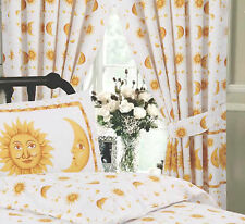 "VIBRANT SUN & MOON WHITE & YELLOW PENCIL PLEAT TAPE TOP 66"" X 72"" CURTAINS"
