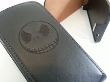 Nokia Lumia 925 JACK SKELLINGTON genuine leather flip phone case cover skull