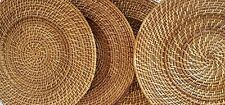 "Set of 4 Wicker Rattan Woven Charger Plates 14"" Sturdy Natural"