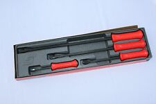 Snap On Tools Pry Bar Set Striking Handle 4 PC. Red  # SPBS704AR Brand New