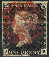 GB 1840 1d Penny Black SG2 Pl 3 (A-B) Fine Used 4 Good Margins Spot on Red MX