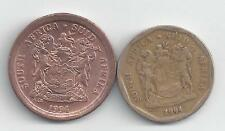2 DIFFERENT COINS from SOUTH AFRICA - 5 & 20 CENTS (BOTH DATING 1994)..