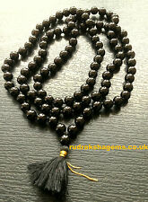 BLACK ONYX STONE OF PROTECTION MALA 108 + 1 BEADS HELPS RELEASING NEGATIVITY