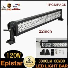 22in 120W SPOT FLOOD LED Work Light Bar Off Road Driving Lamp SUV ATV Boat Truck