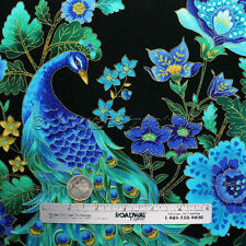 PEACOCKS PLUME Black Gold Metallic Etching Peacock Quilt Fabric by the YARD