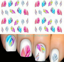 5 SHEETS USEFUL FEATHER NAIL ART WATER TRANSFER STICKERS RAINBOW DREAM DECALS GB