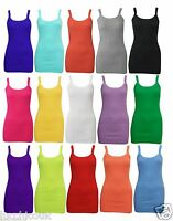 LADIES WOMEN PLAIN RIB STRETCH STRAPPY TOP RIBBED VEST T- SHIRT SIZES 8 - 14