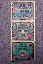 Set of 3 diff. countries WW2 Allied Military currency nice circ. F+ or better