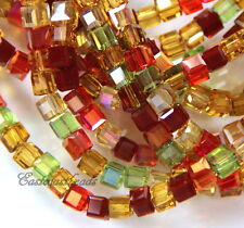 Crystal 4 mm. Cube Beads By Tiaria ~ Multi-Colored ~4mm  ~50Pieces