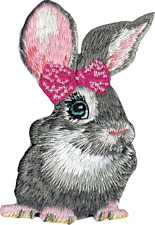 89112 Gray Bunny Rabbit Wearing Pink Bow Big Eyes Cute Embroidered Iron On Patch