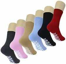 Diabetic Non Skid Slipper Socks /w Grippers for Ladies - 6 Pairs