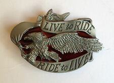 """BUCKLE FOR BELT - BIKER """"Live to Ride, Ride to Live""""  TO SUIT 1.5"""" SNAP ON BELT"""