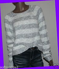 Abercrombie Fitch Striped GREY & WHITE Womens Sweater Easy Fit Cropped MEDIUM M