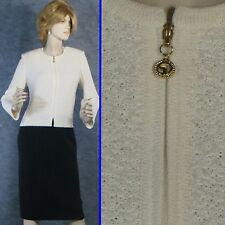 BEAUTIFUL! ST JOHN COLLECTION TEXTURED KNIT OFF-WHITE JACKET SZ 8 EXCELLENT