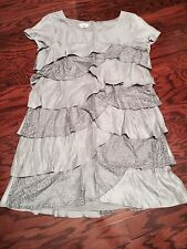 NEW LONDON TIMES Women's Short Sleeves Tiered Cocktail Satin Silver DRESS SZ 18W