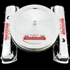 Chrome Valve Covers and Air Cleaner Combo Fits Olds 350 Engines Red 350 Emblems