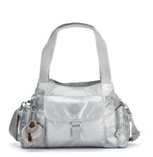 NWT- Kipling Felix (Fairfax) Large Metallic Handbag - Platinum Metallic