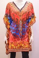 PLUS SIZE FUNKY BOHO JEWEL STYLE LEOPARD PRINT SHORT KAFTAN RED 28 30 32 34 36