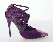 CHLOE Purple Leather Suede Snakeskin High Heel Strappy Leaf Pump ICONIC 8.5-38.5