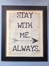 Hunger Games 'Stay With Me Always'  Wall Hanging Antique Dictionary Page #44