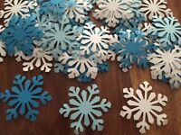 50 GIANT snowflakes FROZEN confetti table decorations Christmas Party White blue
