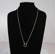 "24"" 925 Fine Sterling Silver Bali Snake Chain Necklace w/Marcasite ring pendant"