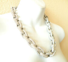 SILVER Classic Chunky Pave Link Chain Necklace J Style with 4,500+ Crystals
