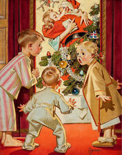 Leyendecker Joseph I Saw Mommy Kissing Santa Claus Print 11 x 14  #3833