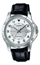 Casio MTP-V008L-7B1 Men's Standard Black Leather Band Date White Dial Watch