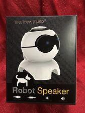 Portable MP3 Music Speaker -Live love Music Robot - White - USB - Lights Up