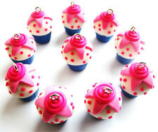 NEW!! GORGEOUS PINK CUPCAKE CHARMS POLYMER CLAY FIMO - INCLUDES FAST FREE P&P