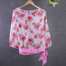 New Womens Chiffon T Shirt Floral Print Long Sleeve Blouse Casual Tops Size 2XL