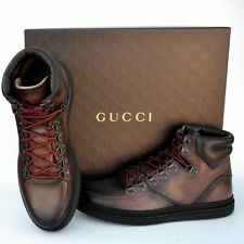 GUCCI New sz 8.5 G US 9 Authentic Designer High Top Mens GG Sneakers Shoes brown