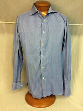 * BORRELLI Napoli * Mens Dress Shirt French Cuffs Blue Check  - 15 3/4 x 40