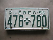 1956 56 QUEBEC CANADA CANADIAN LICENSE PLATE  RARE # 476 780