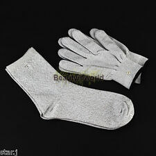 Conductive Electrode Massage Gloves + Socks use with TENS EMS Machine NEW