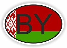 BY BELARUS COUNTRY CODE OVAL WITH FLAG STICKER bumper decal car helmet