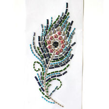Rhinestone Iron on Transfer Hot fix Motif crystal Fashion Design Peacock feather