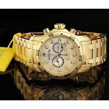 Invicta 0074 Men's Pro Diver Scuba Champagne Dial Gold Steel Bracelet Dive Watch