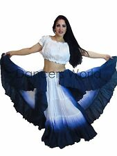 25 Yard BELLY DANCE DANZA Cotone Gon na & Top 2pz ombreggiato Tribale Gypsy colore