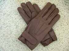 Leather equestrian driving horseback riding gloves Dark Brown   XS