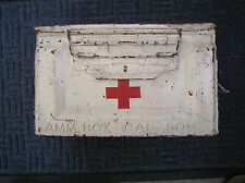 RARE FIND! US MILITARY AMMO BOX REPURPOSED FEILD MEDICAL AID, WHITE w/ RED CROSS